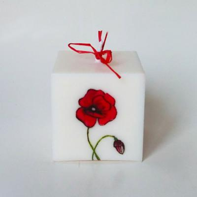 Bougie coquelicots cube